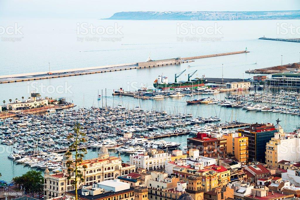 Yachts in Alicante harbor, Costa Blanca, Spain stock photo