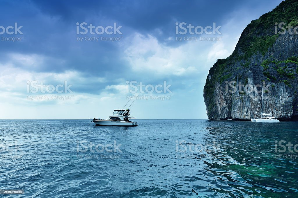 Yachts in Andaman Sea stock photo