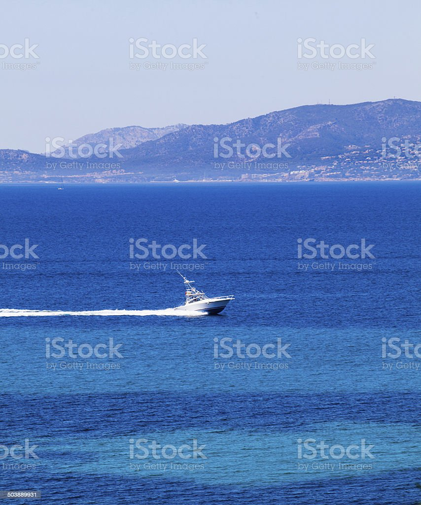 yachts in blue. Mallorca, Spain. Top view stock photo