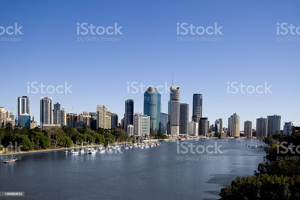 yachts in front of city skyline royalty-free stock photo