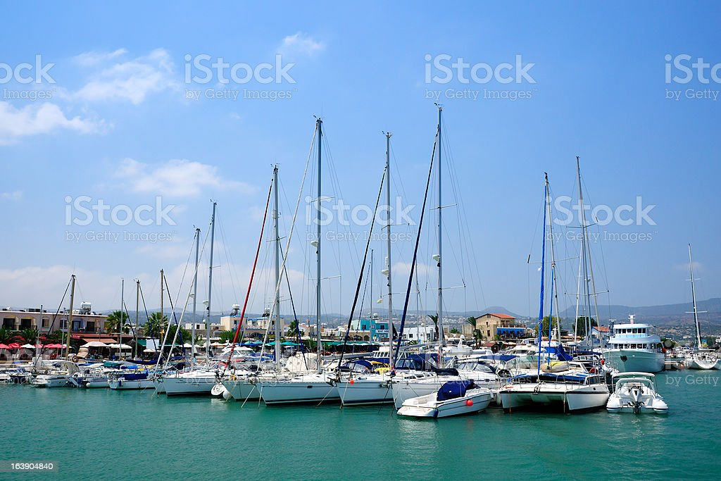 Yachts in harbor of village Latchi, Cyprus stock photo