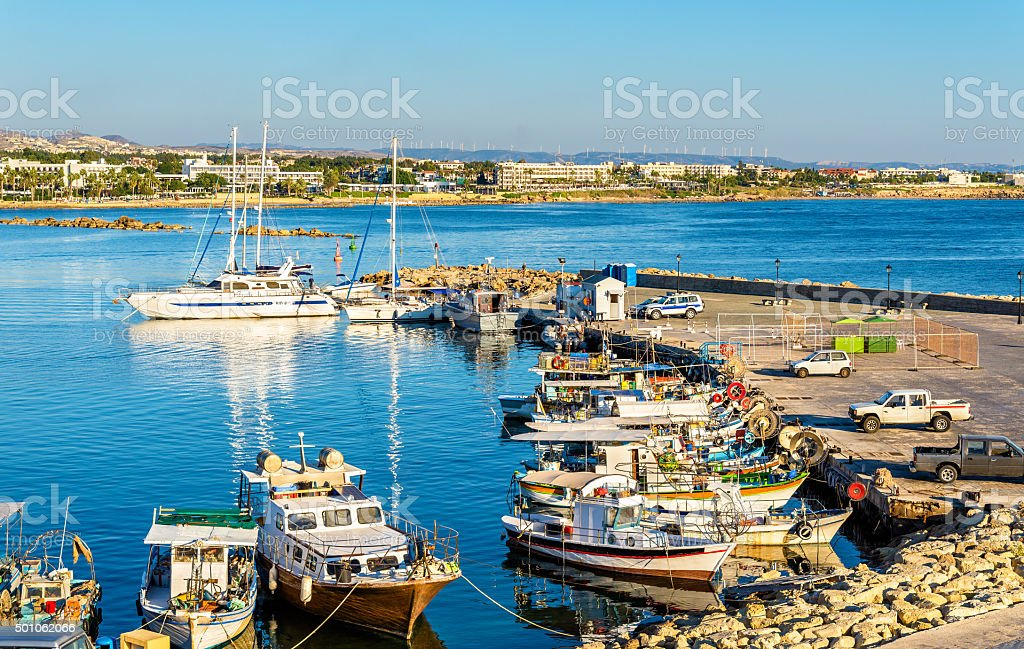 Yachts in Harbour of Paphos - Cyprus stock photo