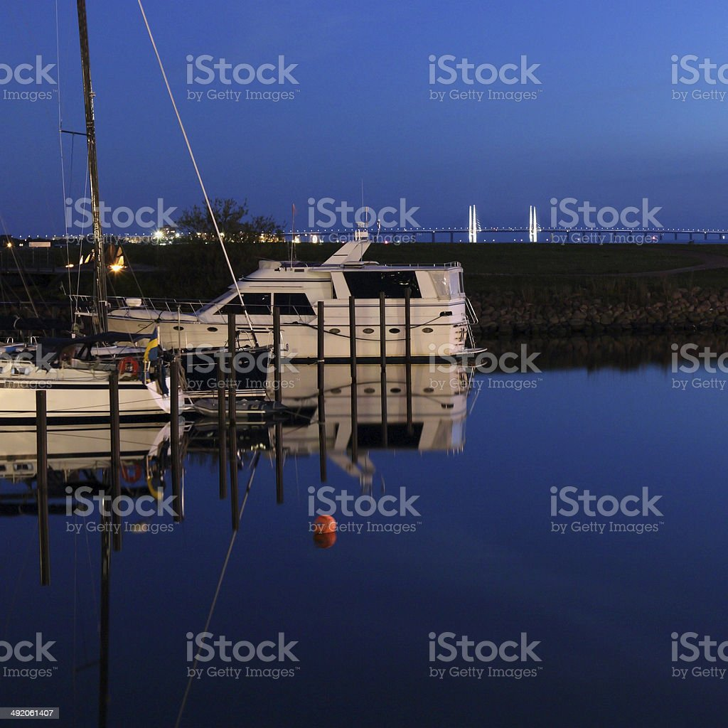 yachts in harbour stock photo