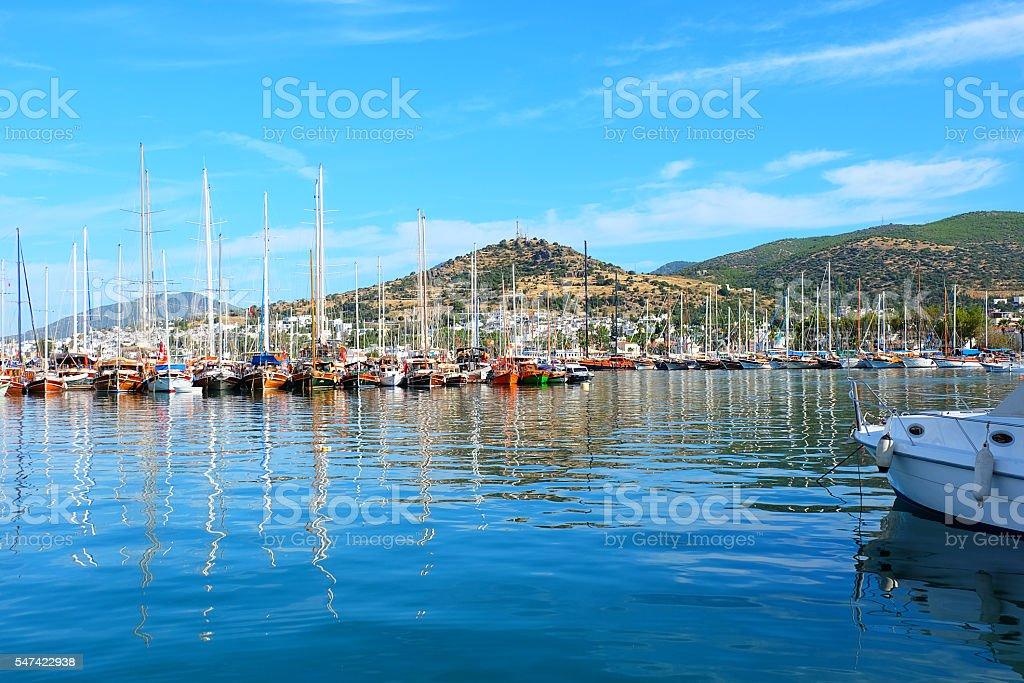 Yachts in marina Bodrum, Turkey stock photo
