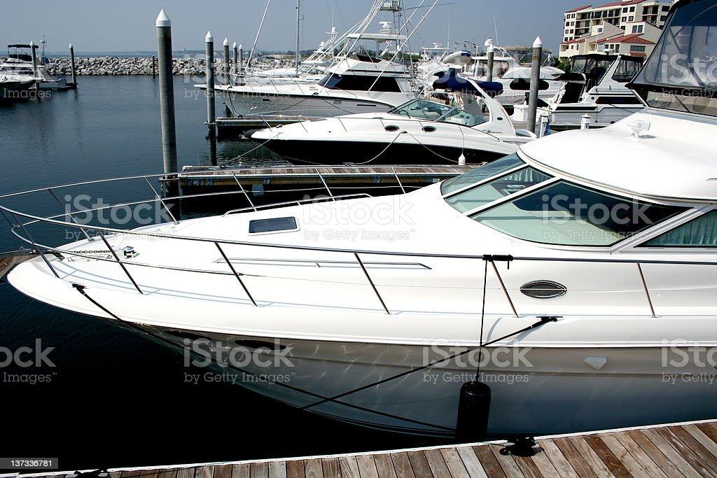 Yachts in marina royalty-free stock photo