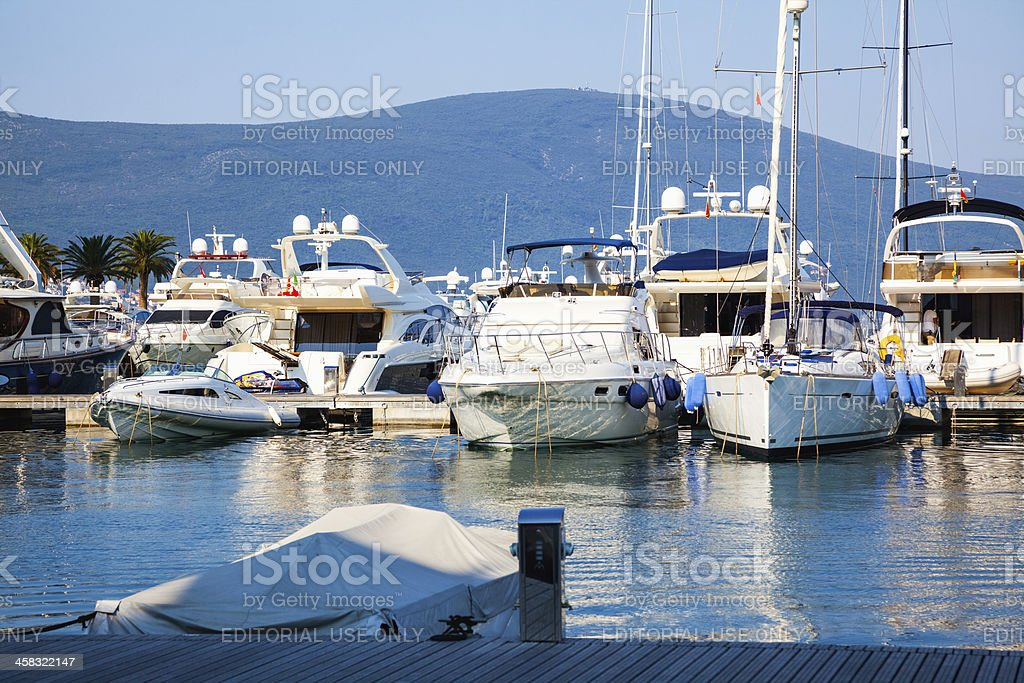 Yachts in marine royalty-free stock photo