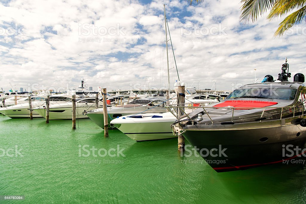 Yachts in miami marina bay at south beach stock photo