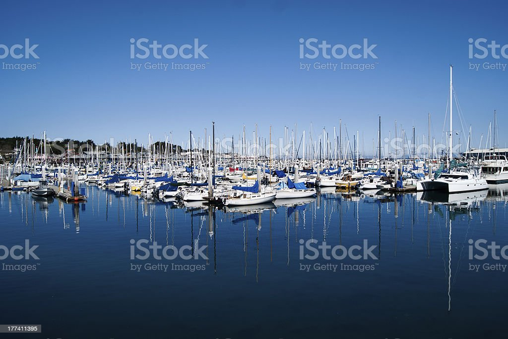 Yachts in Monterey harbour stock photo