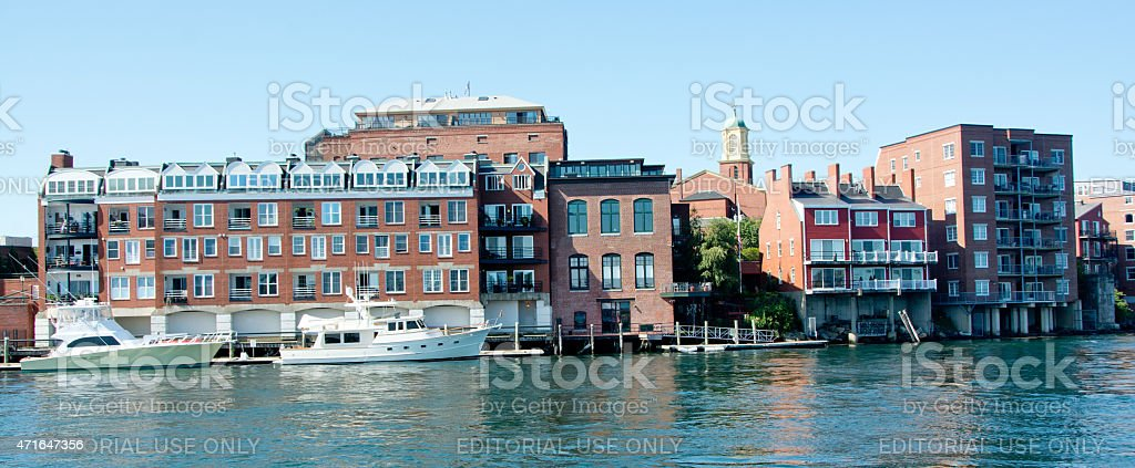 Yachts in Old Harbor, Portsmouth, New Hampshire stock photo