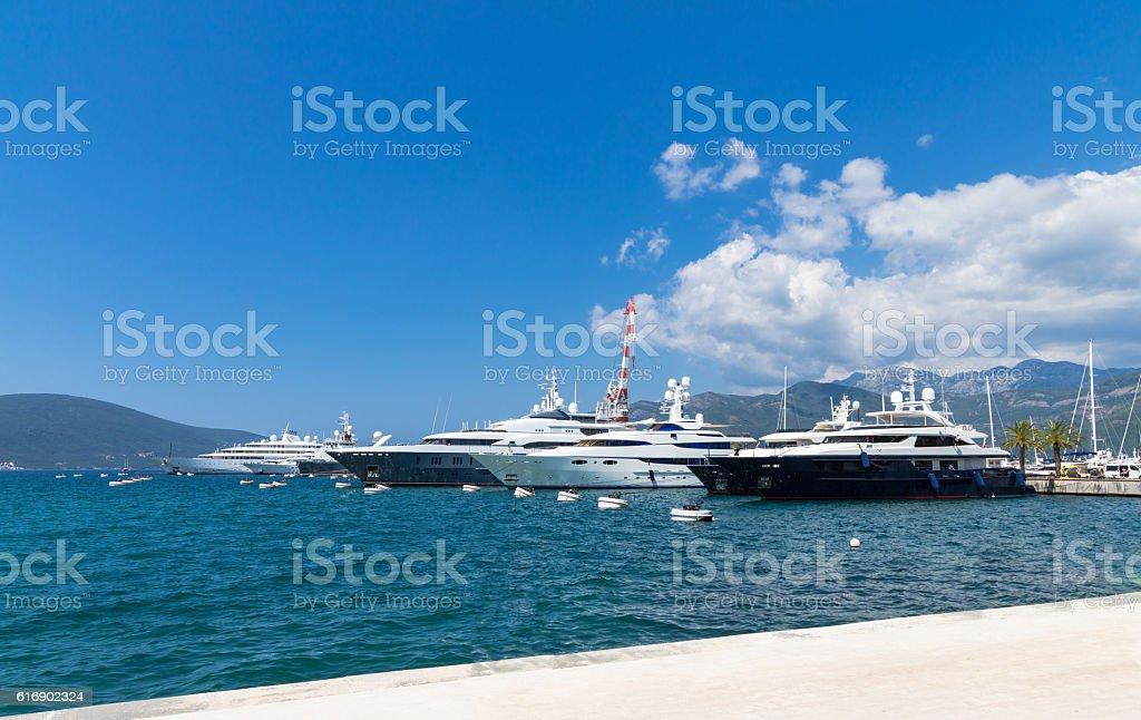 Yachts in Porto Montenegro stock photo