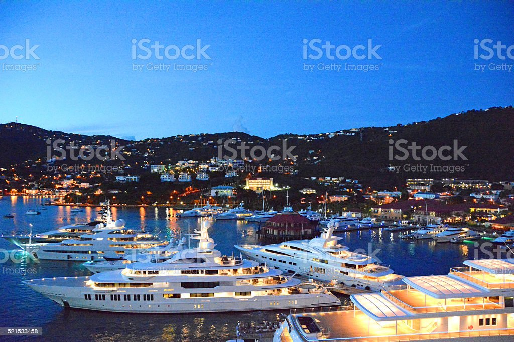 Yachts in Saint Thomas Harbor stock photo