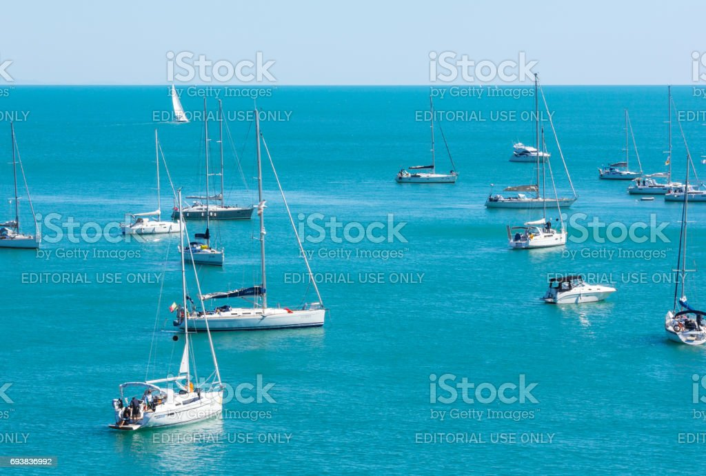 Palmaria, Italy  - April 30, 2017: Yachts in the bay of the island of Palmaria stock photo