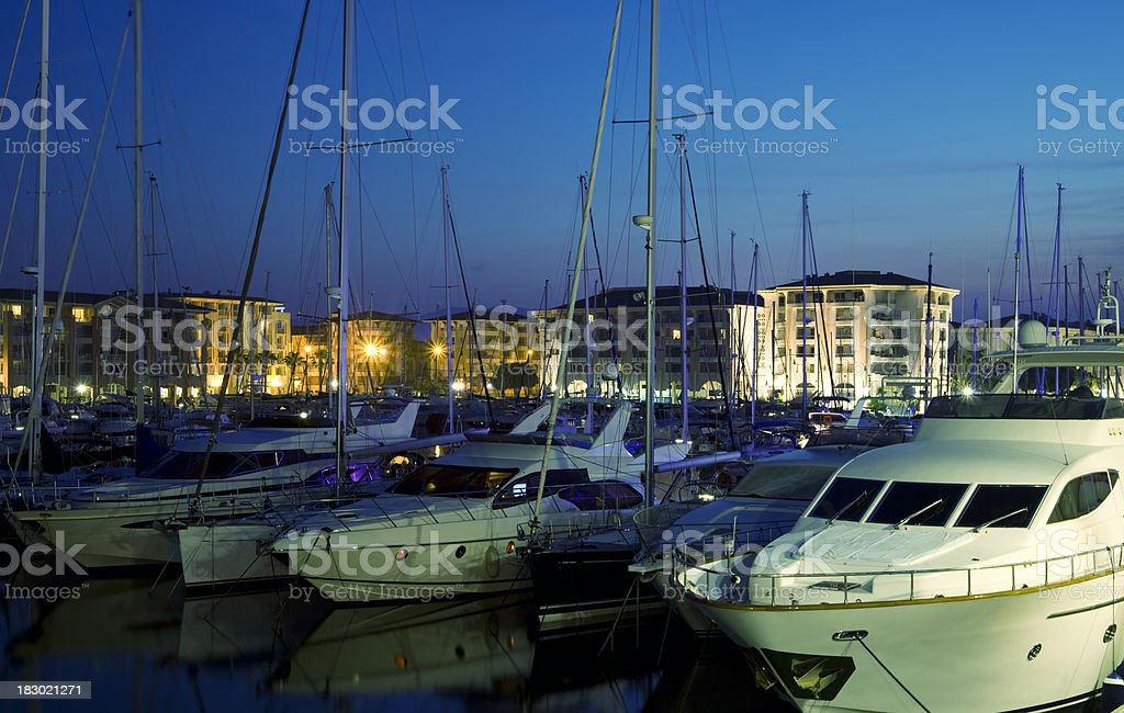 Yachts in the Harbor at Dusk royalty-free stock photo