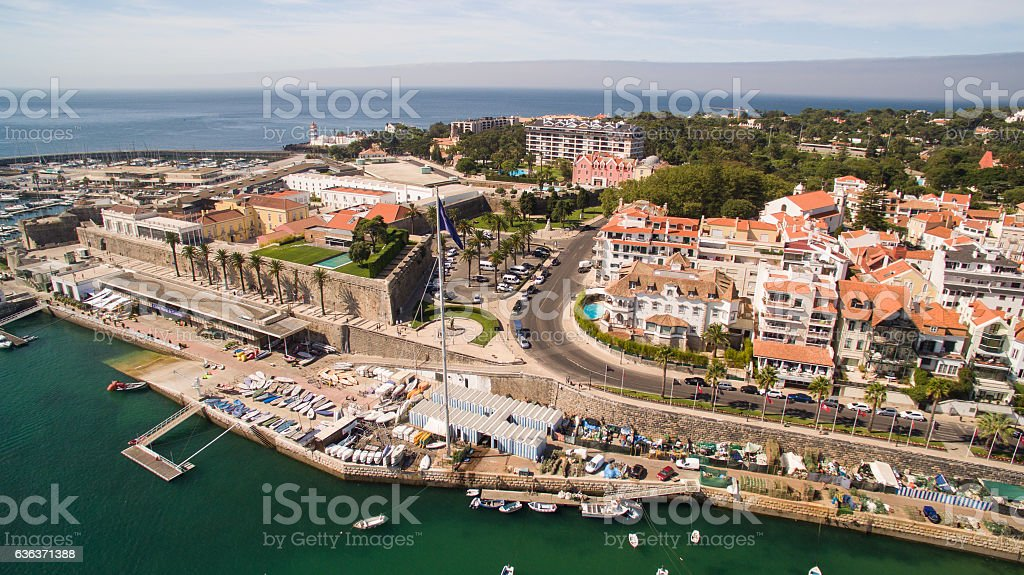 Yachts in the harbor of Cascais, Portugal. Aerial view  marina stock photo