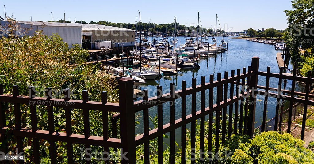 Yachts in the harbor of Mamaroneck, Westchester county, USA stock photo