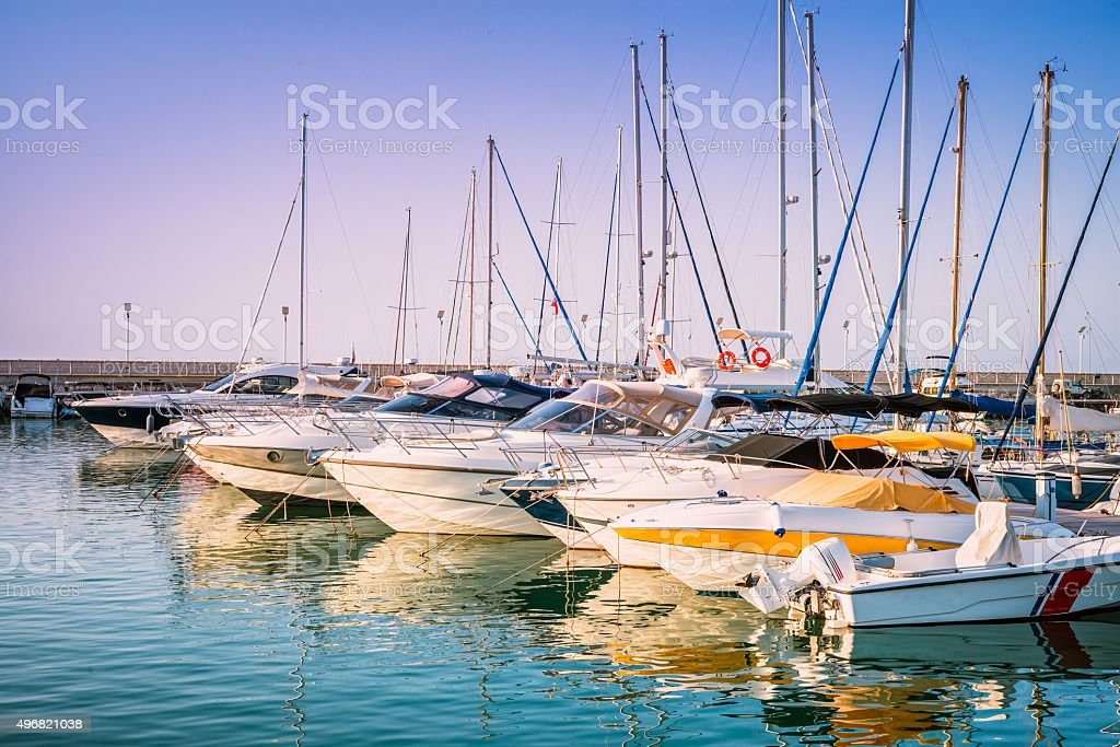 Yachts in the harbour of Latchi village. Paphos district, Cyprus stock photo