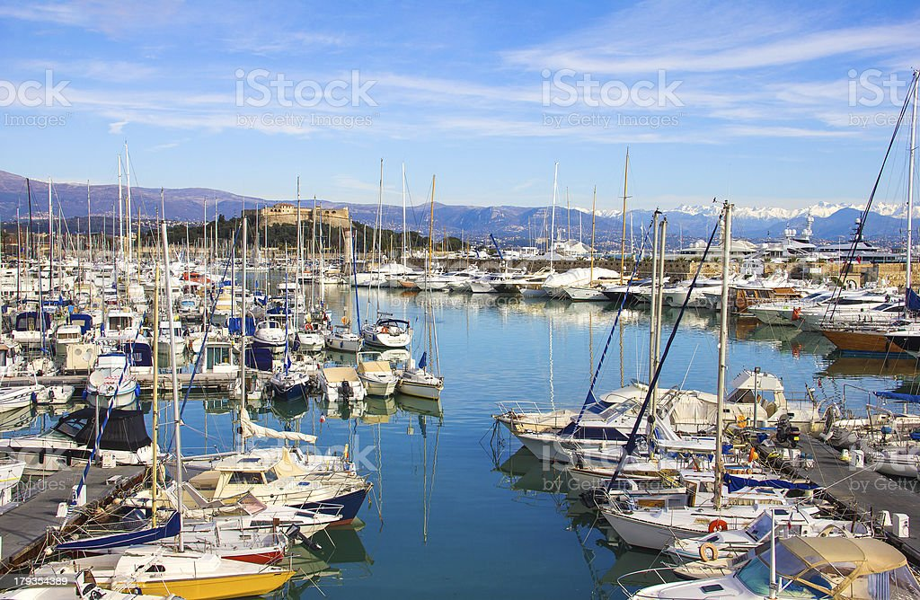 Yachts in the port of Antibes, Cote d'Azur stock photo