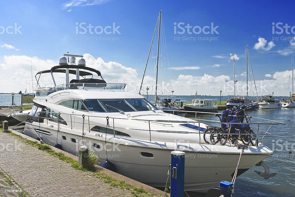 Yachts in the port of Volendam. Netherlands royalty-free stock photo