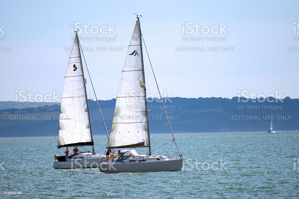 Yachts in the Solent stock photo