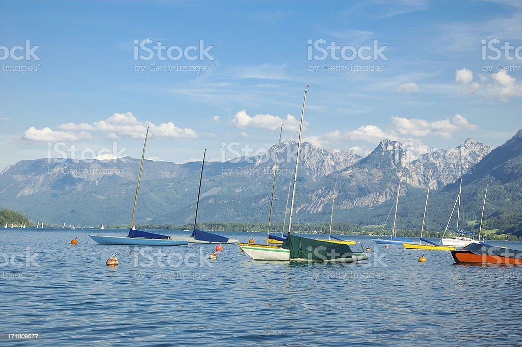 Yachts in Wolfgangsee lake stock photo