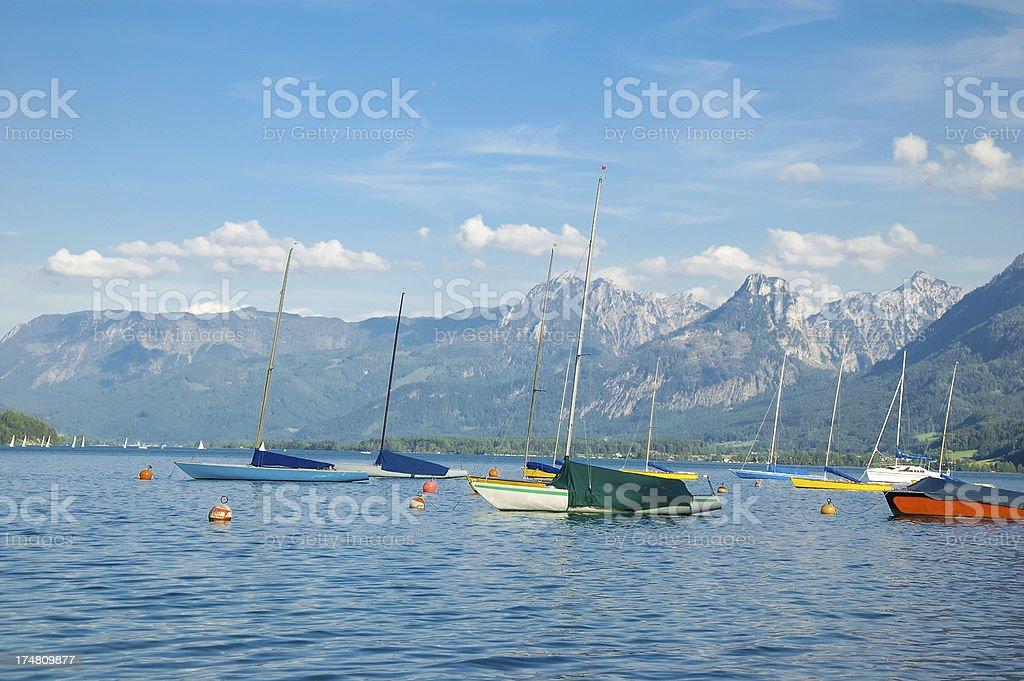 Yachts in Wolfgangsee lake stock photo