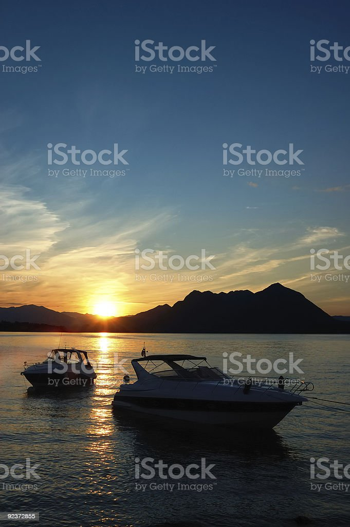 yachts lake dawn royalty-free stock photo