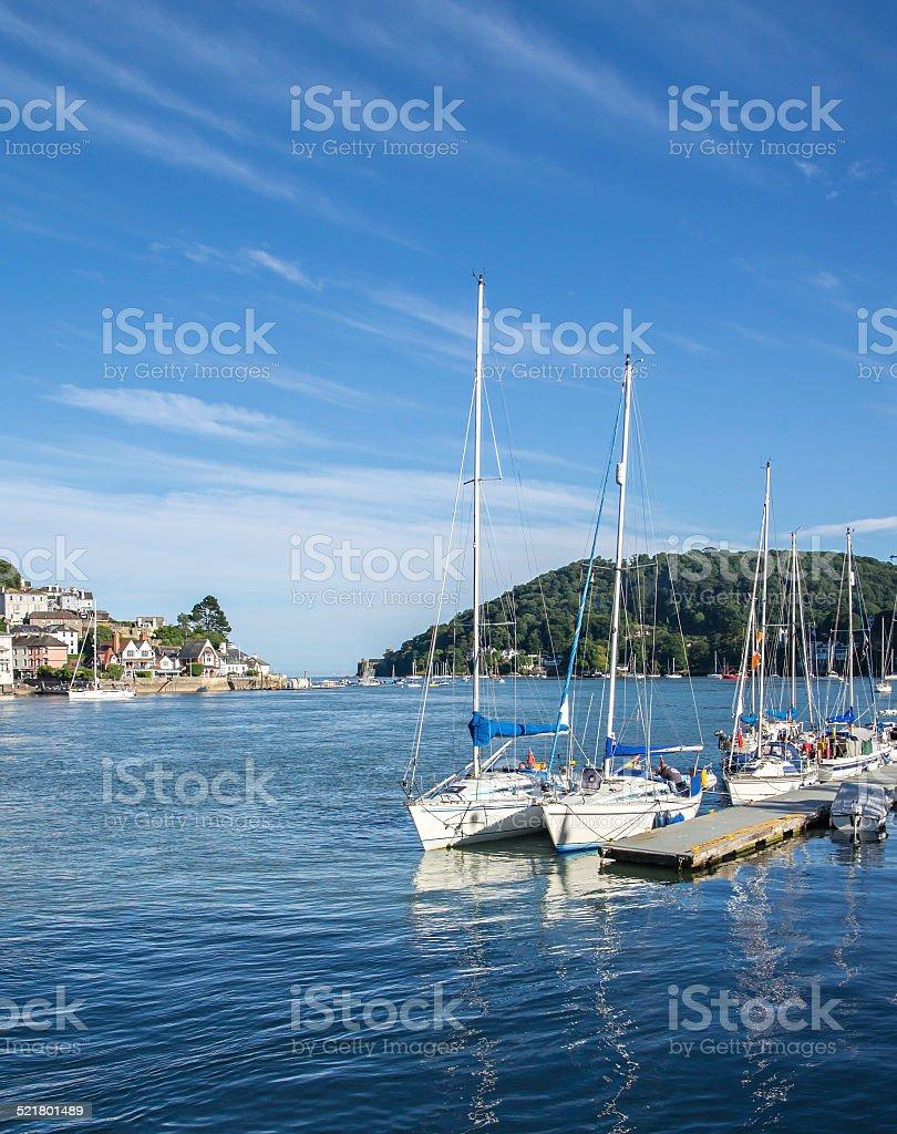 Yachts Moored at Dartmouth, England stock photo