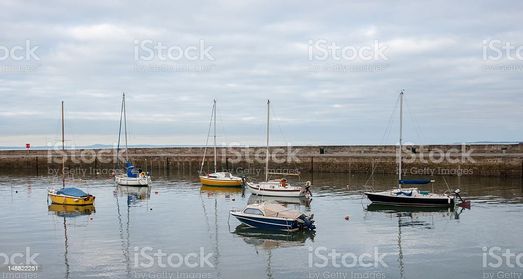 Yachts moored in a harbour stock photo