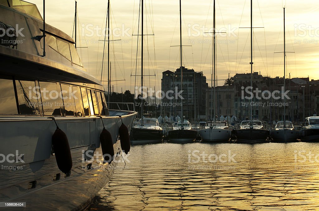 Yachts moored in Cannes royalty-free stock photo