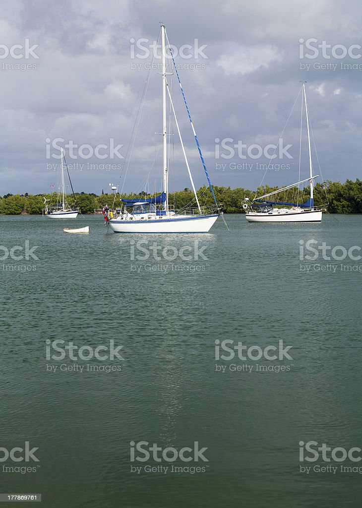 Yachts moored in no name harbor florida stock photo