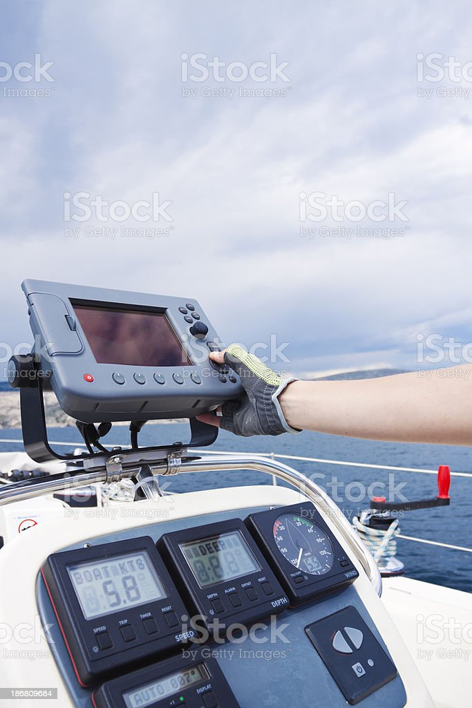 yacht's navigational panel royalty-free stock photo