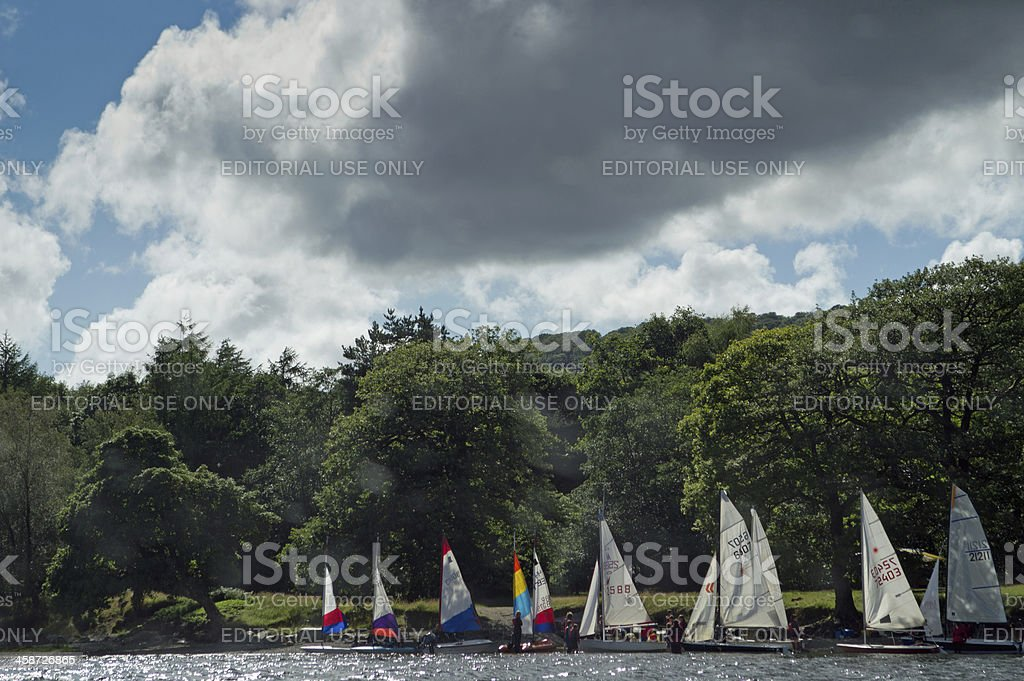 Yachts on Coniston Water stock photo