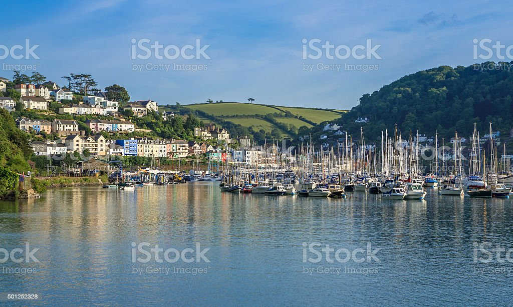 Yachts on the River Dart at Dartmouth and Kingswear, Devon stock photo