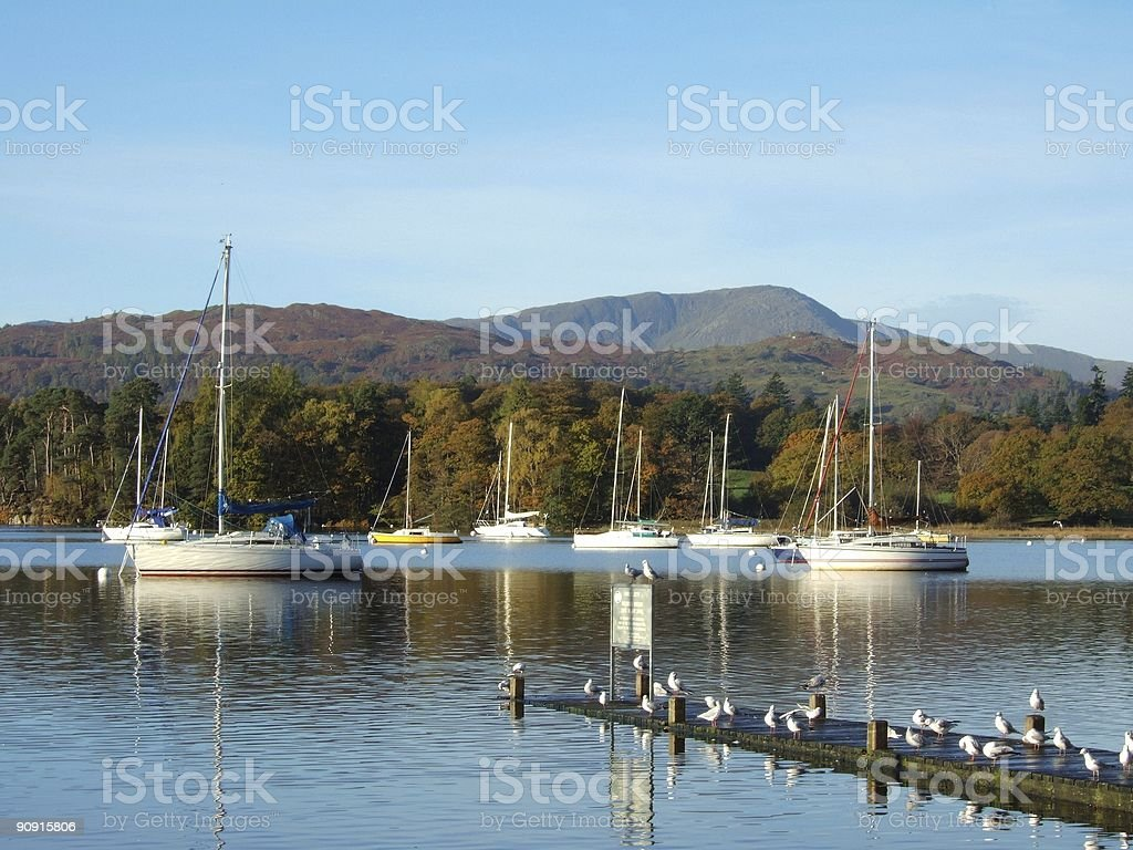 Yachts on Windermere stock photo