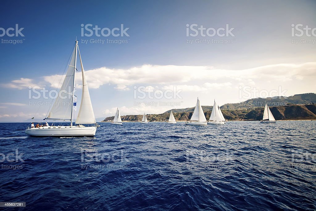 Yachts with white sails on the open water stock photo