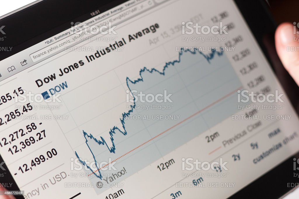Yahoo finance web pages on Apple Ipad royalty-free stock photo