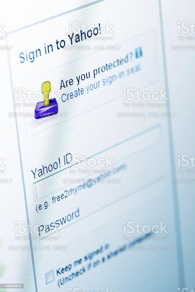 Yahoo login stock photo