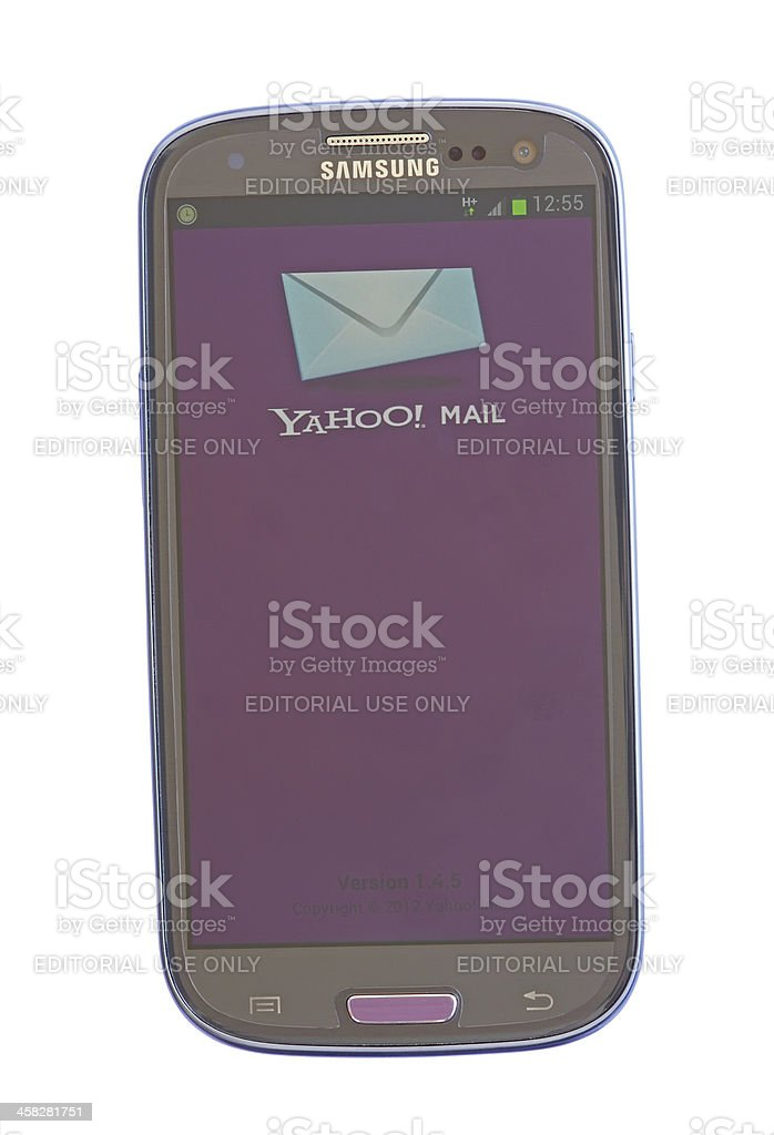 Yahoo mail on mobile stock photo