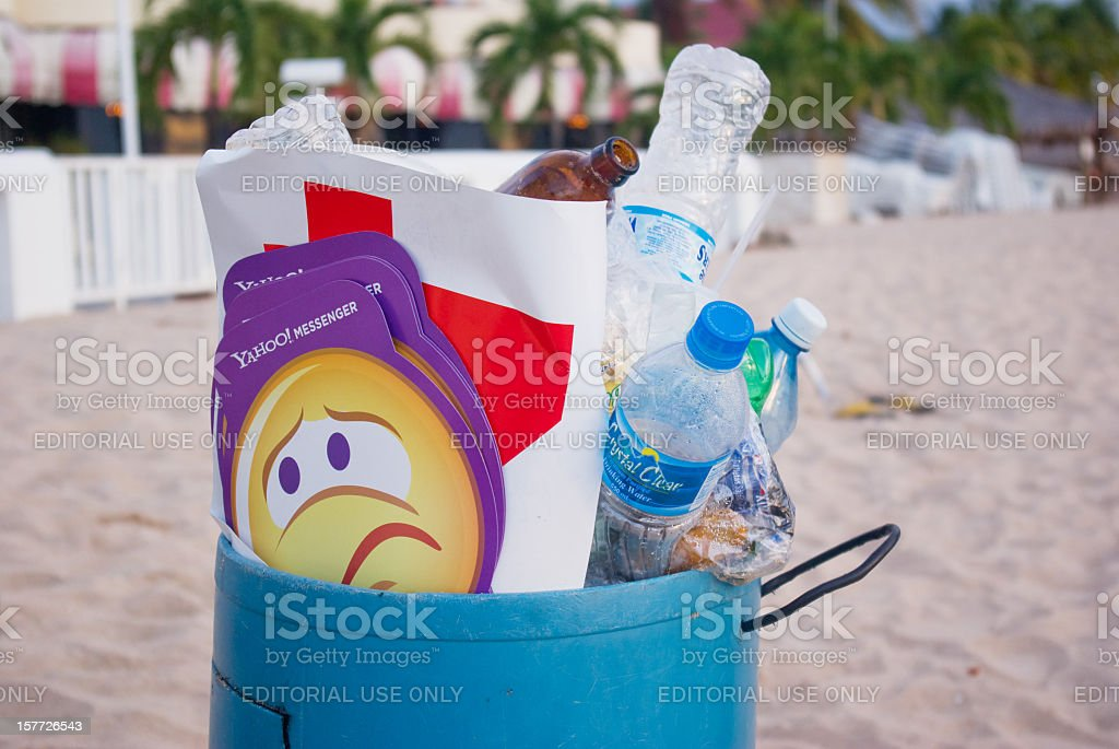 yahoo promotional material trashed stock photo