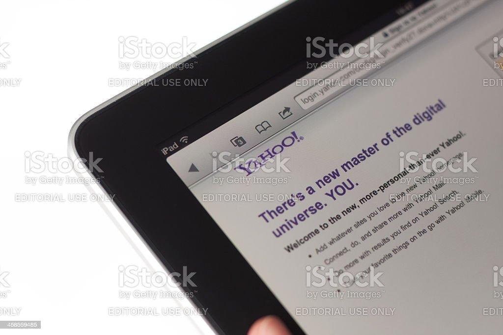 Yahoo web pages on Apple Ipad stock photo
