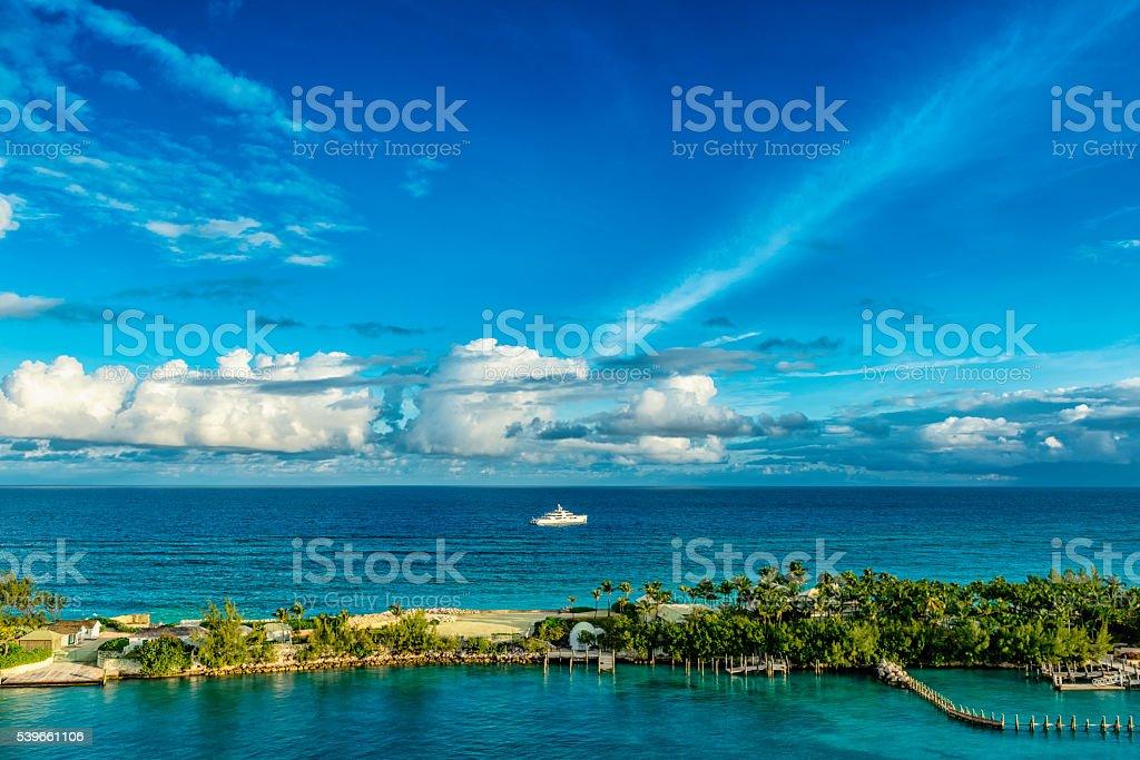 Yaht near Nassau, Bahama Islands stock photo
