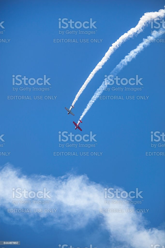 Yak Attack with a Yak 52 and a CJ-6 Nanchang stock photo