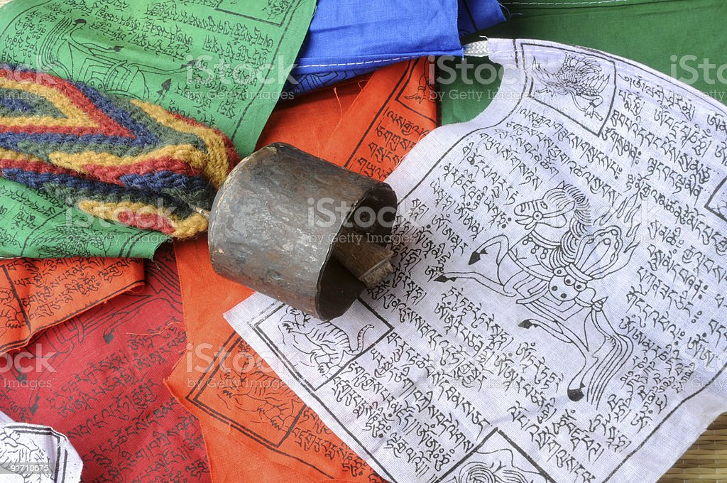 Yak bell and prayers royalty-free stock photo