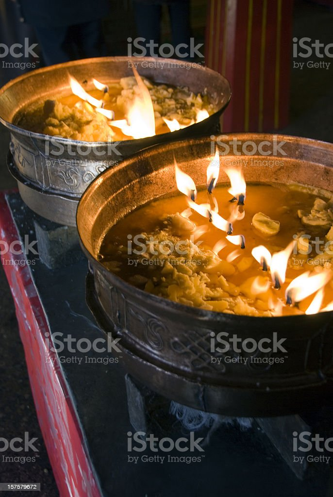 Yak Butter Lamps stock photo
