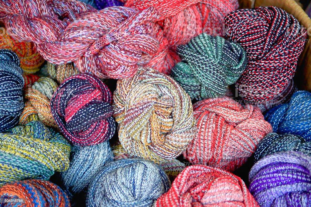 Yak wool skeins. Khatmandu-Nepal. 2006 stock photo