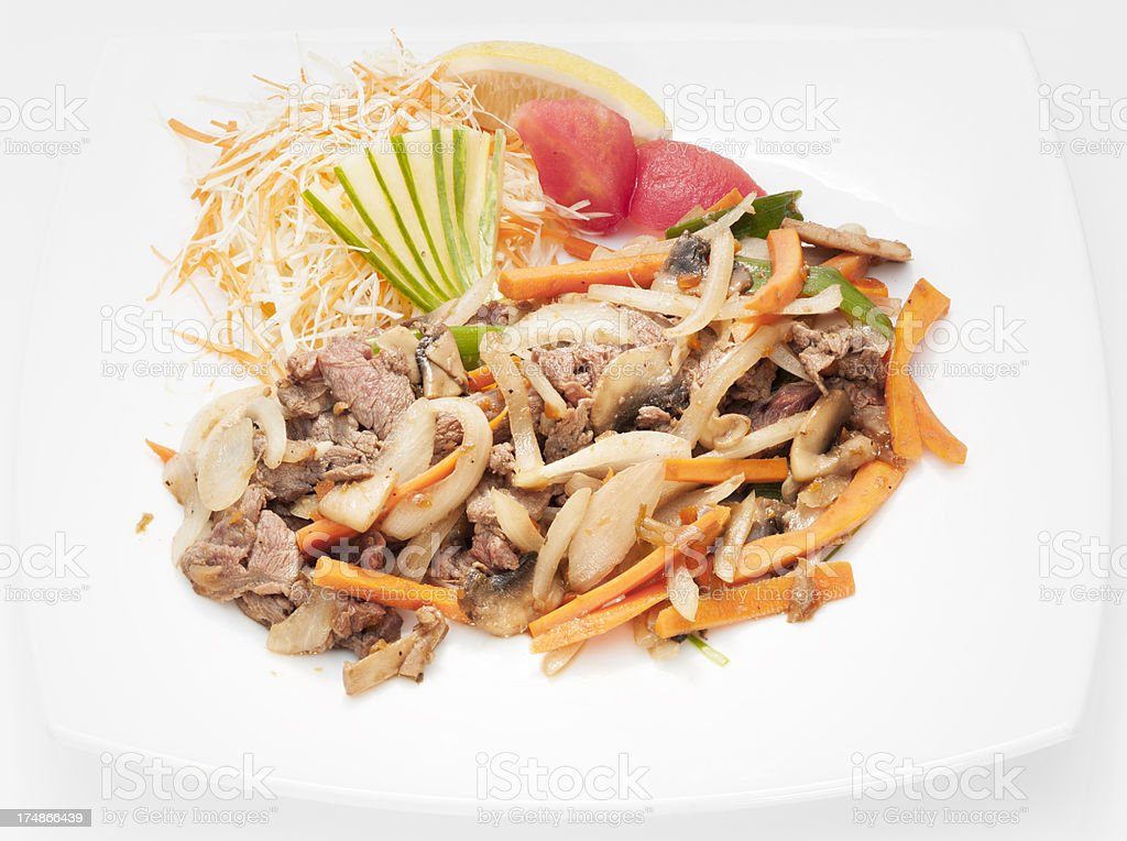 Yakiniku beef with vegetables stock photo