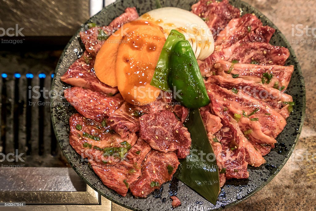 Yakiniku meat set stock photo