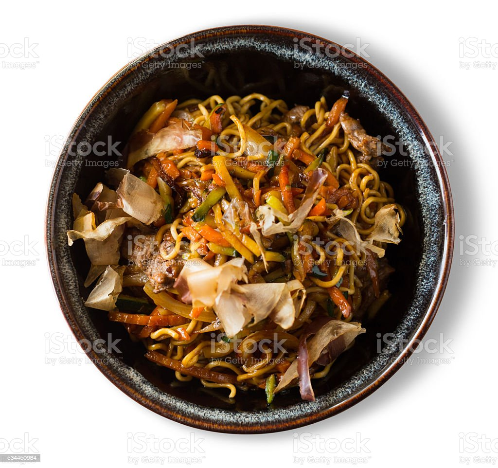 yakisoba isolated stock photo