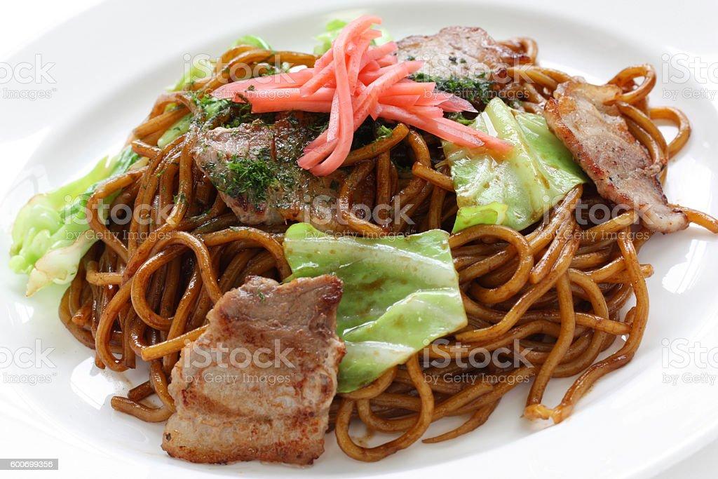 yakisoba, japanese fried noodles stock photo