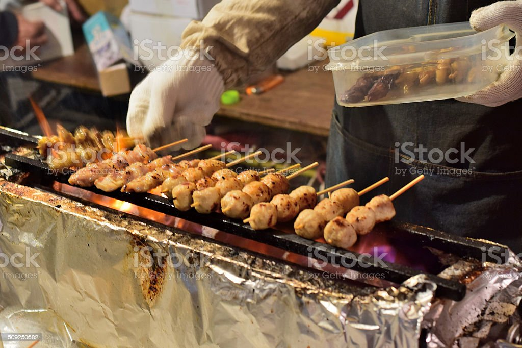 Yakitori or grilled chicken at Tokyo street side shop stock photo